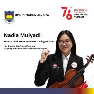 Nadia Mulyadi Siswi BPK PENABUR Jakarta, Pemain Orkestra Iringi Peringatan Detik-detik Proklamasi HUT Ke-76 RI