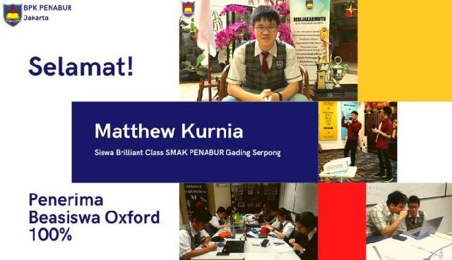 Matthew Kurnia, Siswa SMA PENABUR Gading Serpong Ukir Prestasi Gemilang di Tengah Pandemi